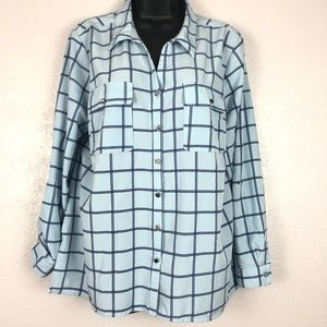 NOTATIONS striped soft long sleeve blouse shirt XL